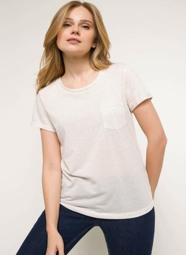 DeFacto Tek Cep Basic T-shirt Bej